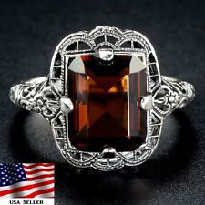 2CT Smoky Topaz 925 Solid Sterling Silver Edwardian Style Filigree Ring Sz 7