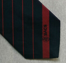 VINTAGE TIE COMPANY 1980s 1990s BACS LOGO BANKING FINANCE NAVY RED CORPORATE