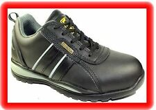 WOMENS LADIES BLACK LEATHER WORK SAFETY STEEL TOE CAP  SHOES TRAINERS Size uk 4