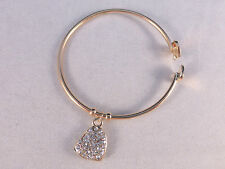 Ladies Dangling Sparkling Crystal Heart Charm on Bangle in Silver or Gold Tones