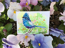 ACEO ORIGINAL WATERCOLOR- Fairy wren chick in the spring meadow, Gift for her