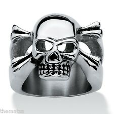 MENS STAINLESS STEEL SKULL AND CROSSBONES RING SIZE 9 10 11 12 13