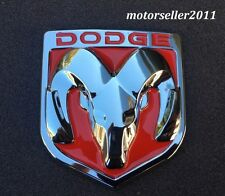 3D DODGE Red & Chrome Hood Or Trunk Tailgate Fender Decal Badge Emblem 82x90mm