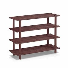 Furinno FNCJ-33005EX Pine Solid Wood 4-Tier Shoe Rack, Cherry New