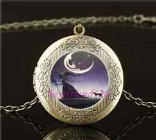 Vintage Gothic Witch and Cat Photo Glass Brass Locket Pendant Necklace