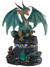 "6"" Green Dragon Standing On Treasure Chest Collectible Figurine Statue Fantasy"