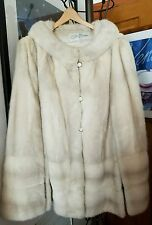 Vintage White Azurene EMBA Natural Blue Gray Mink Fur Cape Coat Stole At Knee