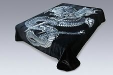 Solaron Korean Super High Quality Thick Mink Dragon Blanket KING SIZE BLACK Soft