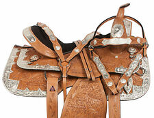 16 17 LIGHT OIL WESTERN SHOW EQUITATION PLEASURE LEATHER HORSE SADDLE TACK SET