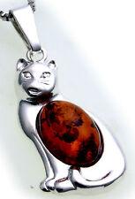 Anhänger echt Bernstein Katze echt Silber 925 Sterlingsilber Unisex Kater Cat