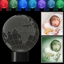 3D Illusion 7 Color Change Globe USB LED Night Light Table Lamp Christmas Gift
