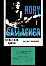Rory Gallagher Concert Poster + Ticket SFX Hall Dublin 1983  A3 Repro..