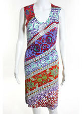CAVALLI CLASS Multi Color Abstract Sleeveless Scoop Neck Sweater Dress Sz 8