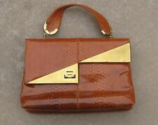 VTG 60s MOD FAUX REPTILE crock BAG purse AUTUMN burnt orange BRASS ACCENTS