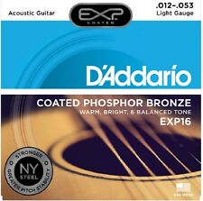 3 Sets D'Addario EXP16 Coated EJ16 Phosphor Bronze 12-53 Acoustic Guitar Strings
