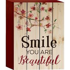 "SMILE YOU ARE BEAUTIFUL Cherry Blossoms Distressed Wood Box Sign, 6"" x 8"""