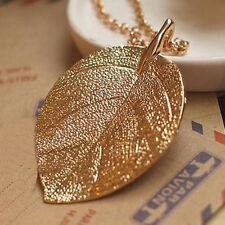 Hot Sale Women Brilliant Gold Plated Leaf Long Chain Pendant Necklace Jewelry