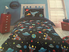 BLAST OFF SPACE ROCKET SINGLE bed QUILT DOONA COVER SET NEW