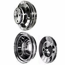 chrome big block 3 pulley set fits chevy 396 427 454 502 with long water pump