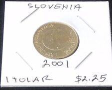 SHINY Slovenia TWO Coin Set ~ 2001 One Tolar (KM# 4) & 2004 Two Tolarja (KM# 5)