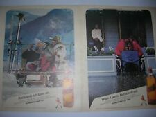 VINTAGE 2 LOT 1985 JOHNNIE WALKER RED SCOTCH LIQUOR ADVERTISEMENT POSTER PINUP