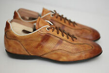 Santoni 'Striper 2' Perforated Leather Sneaker - Cognac Brown - Size 8.5 D (X47)