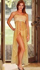 (S) Sexy Lingerie see through Gold Long Gown + matching Thong Gold Panty (Small)