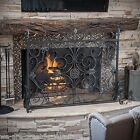 Indoor Darcie Black Brushed Silver Finish Wrought Iron Fireplace Screen