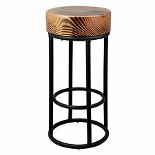 Industrial Metal Black Bar Stool with Chunky Round Wooden Top Kitchen Side Table