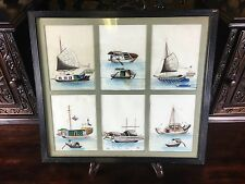 ANTIQUE CHINESE BOAT PAINTINGS ON RICE PAPER PITH PAPER FINELY DETAILED 1/2