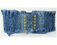 Women Fashion Denim Rivet Tassels Elastic Stretch Corset Waist Belt (Black/Blue)