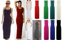 New Womens Ladies Jersey Racer Back Sleeveless Long Vest Maxi Dress 8-12