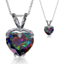 Fiery Rainbow Mystic Topaz 5.38ct Heart Cut CZ Pendant Necklace Sterling Silver
