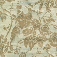 Wallpaper Gold Pheasant Floral Birds on Faux Vintage Weathered Silk