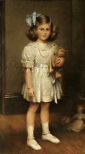VINTAGE CHILD GIRL TEDDY BEAR DOLL PAINTING REPRO CHILDHOOD CANVAS ART PRINT
