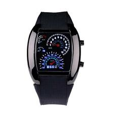 Hot Mens LED Watch Light Flash RPM Turbo Speedometer Sports Car Dial Meter Watch