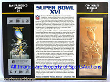 SAN FRANCISCO 49ERS  BENGALS Willabee Ward 22KT GOLD SUPER BOWL 16 TICKET SB XVI