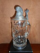 A 1910 REGIMENTAL STEIN W/ A MONK ON HANDLE TIP &  FUR CRESTED HELMET LID