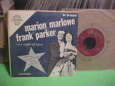 MARION MARLOW / FRANK PARKER 45 RPM EP ONE NIGHT OF LOVE VINYL RECORD COLUMBIA