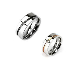 Pair (2Pc) stainless steel gold & BLK striped C.Z wedding, couple rings Sz5~Sz14