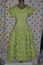 GREEN RUFFLED SENORITA SQUARE DANCE DRESS VINTAGE  DRESS COSTUME RE ENACTMENT