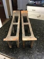 Antique Cast Iron Peerless Andirons / Log Grates / Fireplace Tools