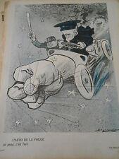 Caricature 1906  L'Auto de la Police Un poing c'est tout