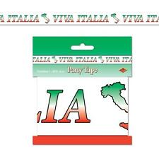 ITALIAN 'VIVA ITALIA' PARTY TAPE 3 INCH WIDE 20 FOOT LONG RED WHITE GREEN ITALY