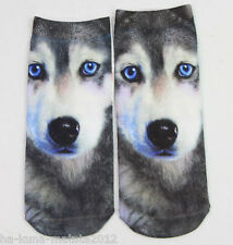 WOLF/ HUSKY Dog New Trainer SOCKS UK Size 3-7, 1pr 3D Digital Photo UK Sale