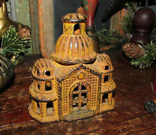 Original Antique Vtg Cast Iron Domed Mosque Toy Building Still Penny Bank