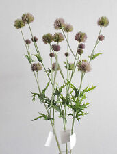 3 x Artificial Cottage Garden Thistles Pink -Ball Thistle Heads - Spiky Leaves