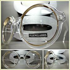 VINTAGE RETRO Style Clear Lens EYE GLASSES Round Transparent & Rose Gold Frame