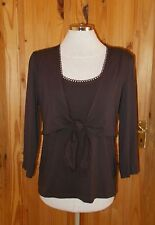 Next chocolate brown stretch 3/4sleeve cardigan tunic top BNWT M12-14