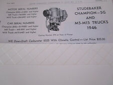 ORIGINAL 1946 Studebaker Champion 5G/ M5-M15 Trucks Carter Carbureter Spec